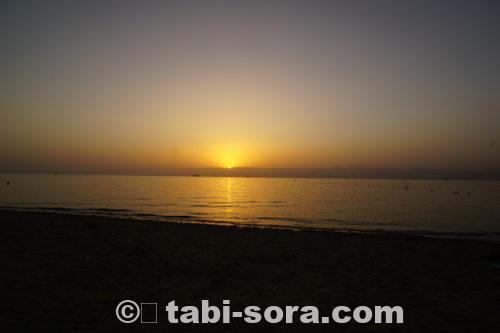 アカバ湾の夕陽