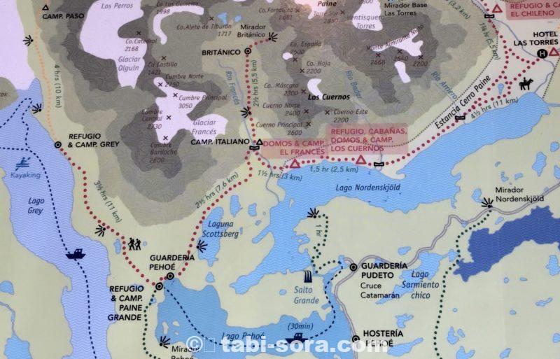 パイネ国立公園の地図