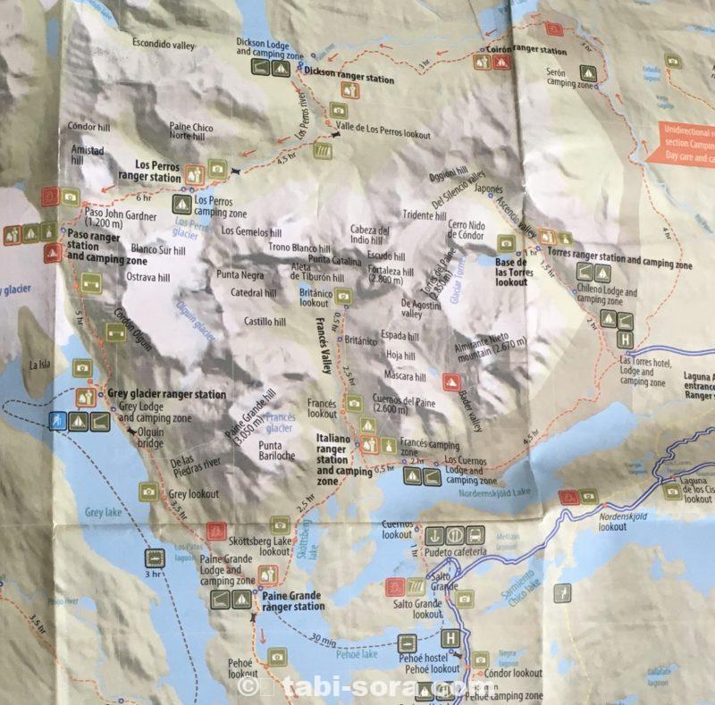 パイネ国立公園トレッキング地図